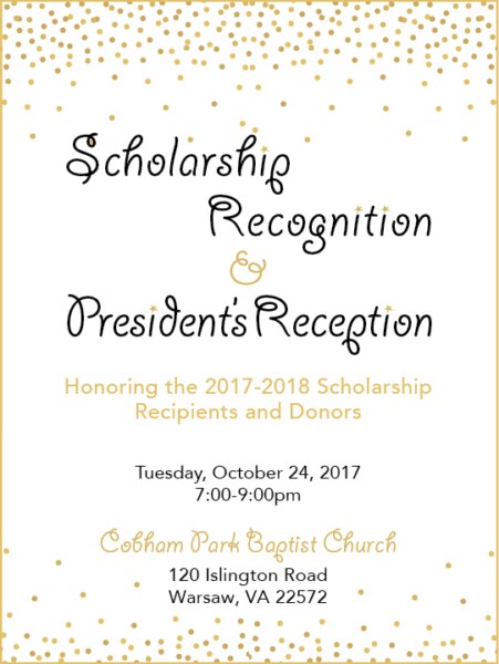 Scholarship Recognition and President's Reception