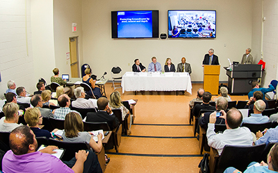 A September 3 panel discussion on fracking drew capacity crowds at RCC.