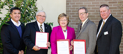 Dr. Donald Bartholomay, Marjorie Lampkin, and Mike Jenkins received Chancellor's Awards from the Virginia Community College System, in honor of their excellent work for RCC's Workforce Development Office, at a luncheon ceremony in Richmond on November 3. Left to right: RCC workforce coordinator David Valadez; Bartholomay; Lampkin; Jenkins; and Jason Perry, RCC's vice president of workforce development.