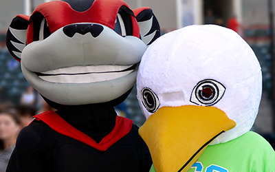 A Richmond Flying Squirrels game featured RCC's mascot, Squall the Seagull, throwing out the first pitch as part of a Remote Area Medical fundraiser.