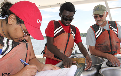 A trip on the VIMS research vessel Tidewater (part of a Coastal Ecology course) allowed RCC students to get up close and personal with the Chesapeake Bay's inhabitants and their environment. Left to right: Heather Jeter and Lamar Johnson, both of Westmoreland County, and Don Knox of Essex County.