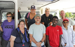 "RCC students and their instructors took a day on the water as part of a Coastal Ecology course focusing on the Chesapeake Bay. Front row, left to right: RCC/VIMS instructor Dr. Diane Tulipani, and students Don Knox of Essex County (also a member of RCC's adjunct EMS faculty), and Lamar Johnson and Heather Jeter, both of Westmoreland County. Back row, left to right: VIMS marine scientist Wendy Lowery, student Anne Hisle of Williamsburg, VIMS lab and research specialist Rebecca Hailey, and VIMS Captain Voight ""Bubba"" Hogge."