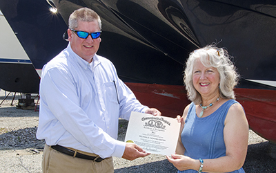 RCC VP Jason Perry and Deltaville Yachting Center co-owner Onna Grimm