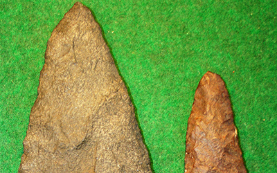 Solutrean stone blades representing the earliest recognized tool tradition in the New World.
