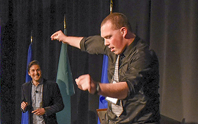 "RCC student ambassador Matt Webb tries out ""Dance Floor Theory"" at a Student Leadership Conference in Roanoke, November 6-8."