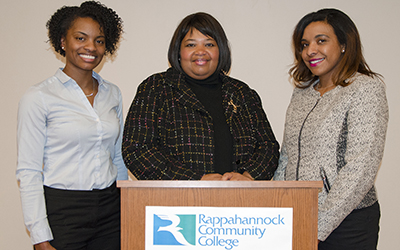 "Ebony Campbell and Dr. Merthia Haynie spoke on the theme of ""Endless Possibilities."" Left to right: Campbell, SSS administrative officer Lorraine Justice, and Haynie"