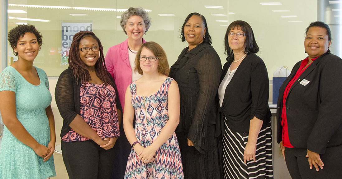 "Among the RCC students invited to join the ""A"" Club in recognition of their outstanding grades for either the Spring 2015 or the Summer 2016 semester were (from left) Emily Cialone, Annette Hamilton, Sharice Murrell, Gloria Rich, and Mary Stevens. At rear is the college's president, Dr. Elizabeth Crowther; at far right is Lorraine Justice, administrative officer for the Student Support Services program."