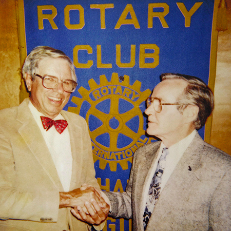 A 1970s photo of Cacky Taylor and Dr. John Gregory of the Tappahannock Rotary Club; they have been honored with scholarships established in their memory that will benefit qualifying RCC students.