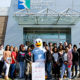 A large group of Lancaster High School students toured RCC's Warsaw Campus on February 8. They are shown with the college mascot, Squall the Seagull.