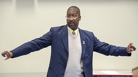"Tyrone Fuller gave an animated talk on Martin Luther King's famous ""I Have a Dream"" speech at RCC on January 16."