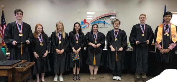 Photo from left to right:  Thomas Wilson, Britney Thomas, Mears Pollard, Alexis Pacheco, Kaeli McGrath, Austin McCarty, Zachary Kane, Roman Cutler