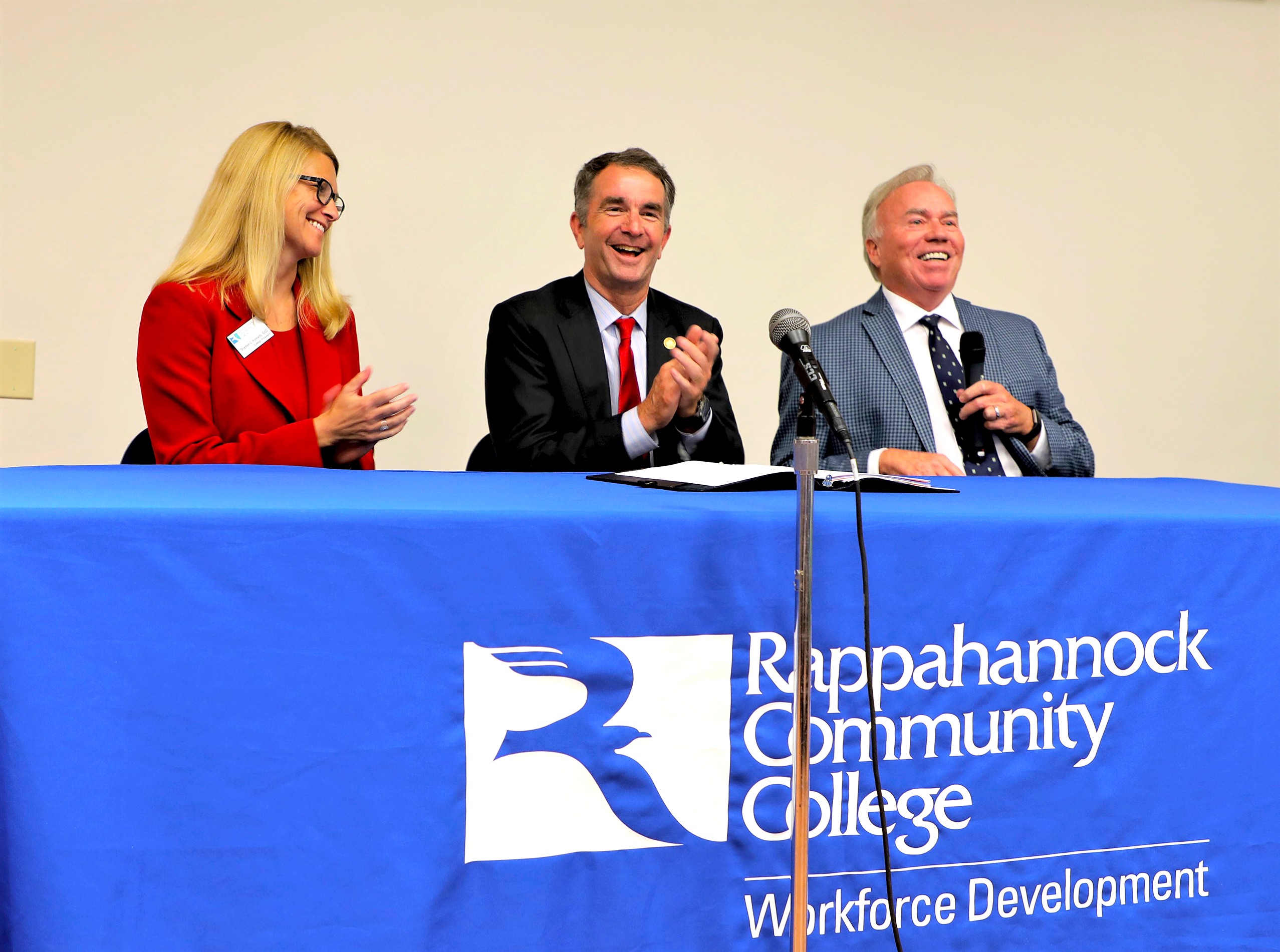 RCC President Shannon Kennedy, Virginia Governor Ralpha Northam and VCCS Chancellor Glenn Dubois at the Governor's Leadership Tour at RCC in September 2019.