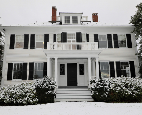 Chinn House in the snow